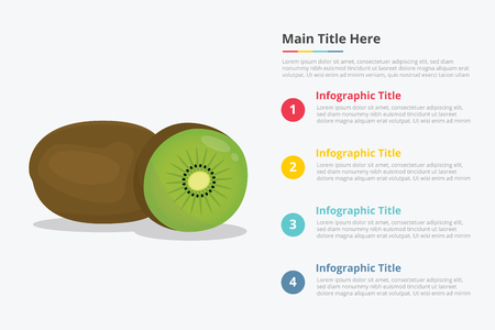 kiwi fruit infographics with some point title description for information template - vector illustration