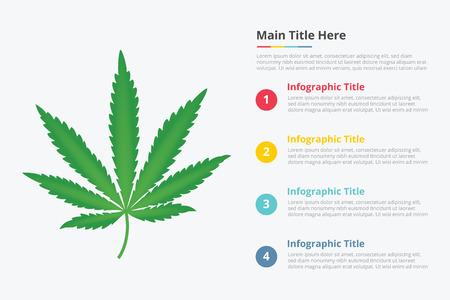 Infografía de hoja de marihuana con una descripción del título de algún punto para la plantilla de información - ilustración vectorial Ilustración de vector