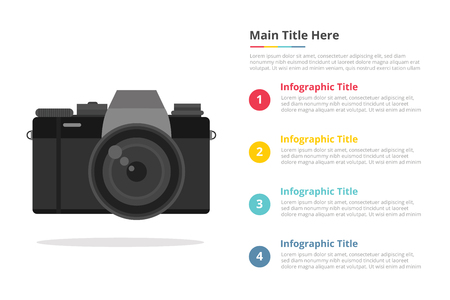 mirrorless camera infographic template with 4 points of free space text description - vector 向量圖像
