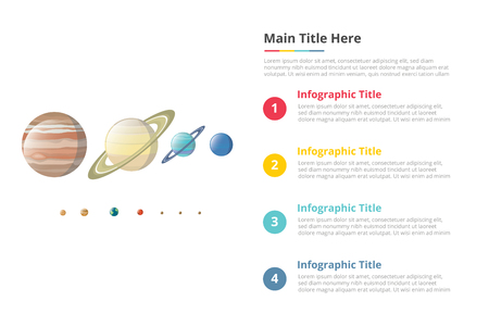 various planet in galaxy size comparison infographics template with 4 points of free space text description - vector