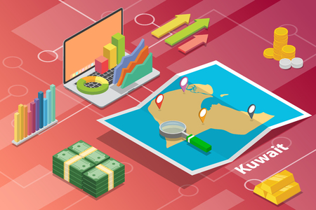 state of kuwait isometric business economy growth country with map and finance condition - vector