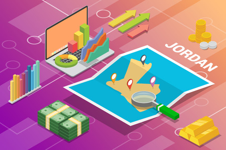 yordania jordan isometric business economy growth country with map and finance condition - vector