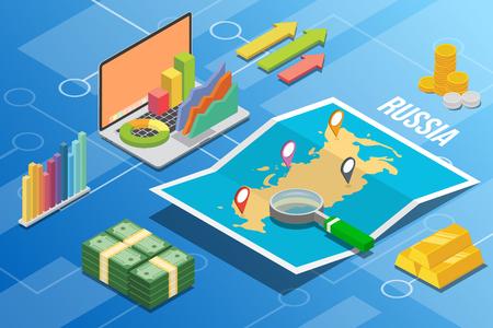 Fédération de Russie pays de croissance de l'économie des entreprises isométrique avec carte et condition financière - vecteur