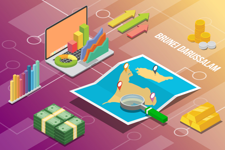 brunei darussalam isometric business economy growth country with map and finance condition - vector Vetores