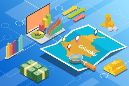 colombia isometric business economy growth country with map and finance condition - vector illustration Illustration