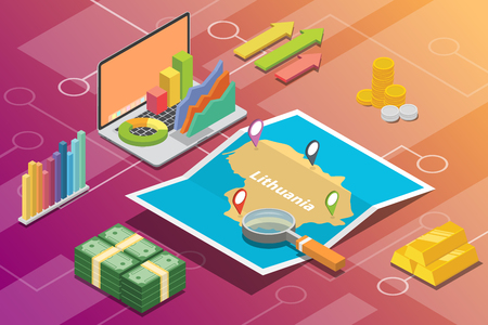 lithuania isometric business economy growth country with map and finance condition - vector illustration Векторная Иллюстрация