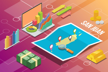 san juan isometric business economy growth country with map and finance condition - vector illustration