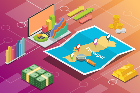 portugal isometric business economy growth country with map and finance condition - vector illustration