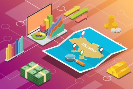 ukraine isometric business economy growth country with map and finance condition - vector illustration Ilustração