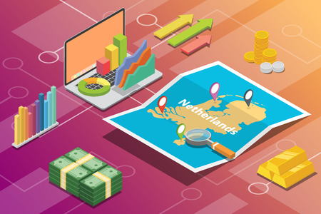netherlands isometric business economy growth country with map and finance condition - vector illustration Ilustração