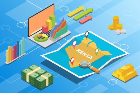 kenya isometric financial economy condition concept for describe country growth expand - vector