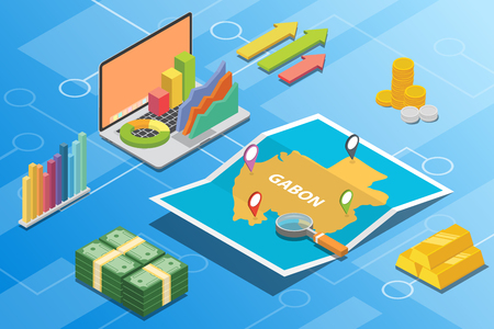 gabon isometric financial economy condition concept for describe country growth expand - vector illustration