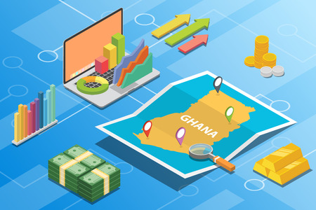 ghana isometric financial economy condition concept for describe country growth expand - vector illustration