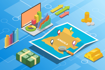 angola isometric financial economy condition concept for describe country growth expand - vector illustration