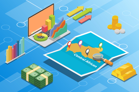 central african republic isometric financial economy condition concept for describe country growth expand - vector illustration