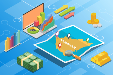 nicaragua isometric financial economy condition concept for describe country growth expand - vector illustration Ilustração
