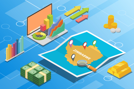 zimbabwe isometric financial economy condition concept for describe country growth expand - vector illustration 向量圖像