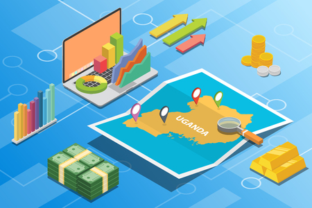 uganda isometric financial economy condition concept for describe country growth expand - vector illustration