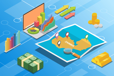zambia isometric financial economy condition concept for describe country growth expand - vector illustration Çizim