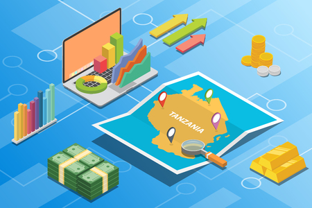 tanzania isometric financial economy condition concept for describe country growth expand - vector illustration