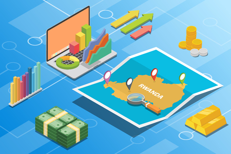 rwanda isometric financial economy condition concept for describe country growth expand - vector illustration 向量圖像