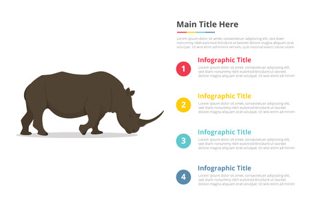 rhinoceros infographics template with 4 points of free space text description - vector 向量圖像