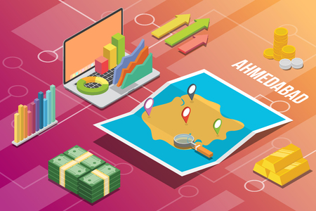 ahmedabad city isometric financial economy condition concept for describe cities growth expand - vector illustration