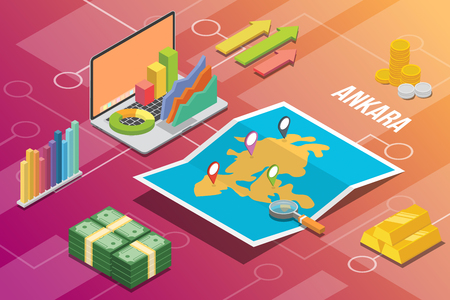 ankara city isometric financial economy condition concept for describe cities growth expand - vector illustration