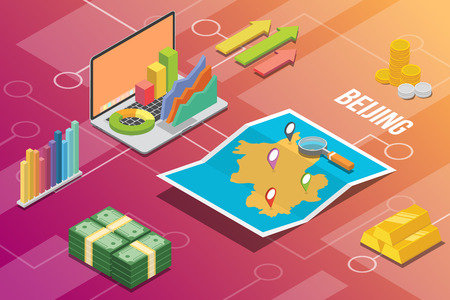 beijing china city isometric financial economy condition concept for describe cities growth expand - vector illustration