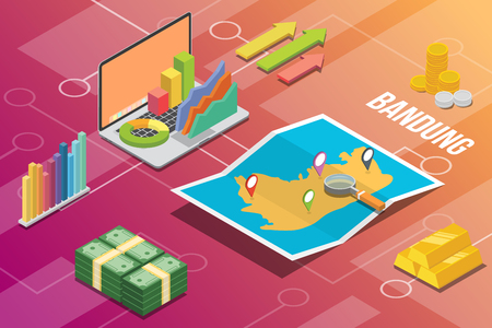 bandung city isometric financial economy condition concept for describe cities growth expand - vector 向量圖像