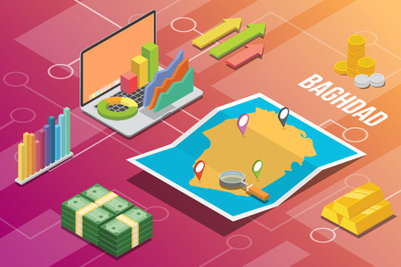 baghdad iraq city isometric financial economy condition concept for describe cities growth expand - vector illustration