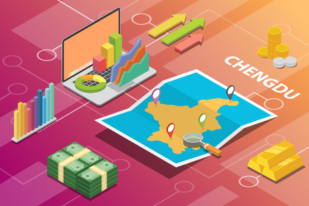 chengdu city isometric financial economy condition concept for describe cities growth expand - vector