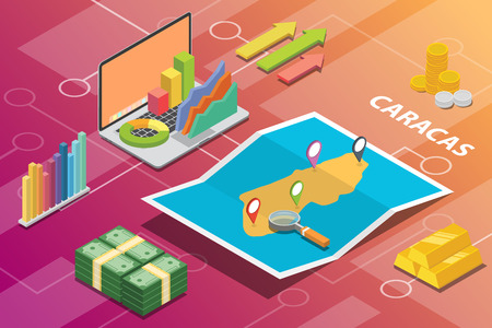 caracas venezuela city isometric financial economy condition concept for describe cities growth expand - vector illustration