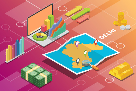 delhi india city isometric financial economy condition concept for describe cities growth expand - vector illustration