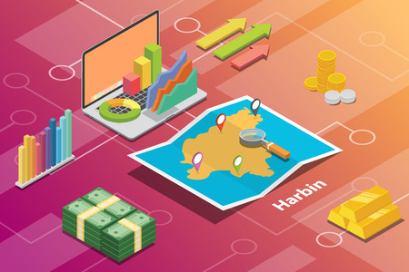 harbin china city isometric financial economy condition concept for describe cities growth expand - vector illustration