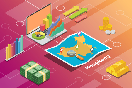 hongkong city isometric financial economy condition concept for describe cities growth expand - vector illustration