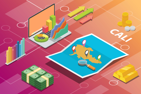 cali colombia city isometric financial economy condition concept for describe cities growth expand - vector illustration
