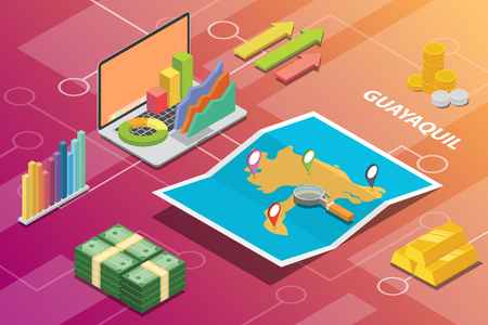 guayaquil ecuador city isometric financial economy condition concept for describe cities growth expand - vector illustration