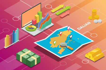 dalian china city isometric financial economy condition concept for describe cities growth expand - vector illustration
