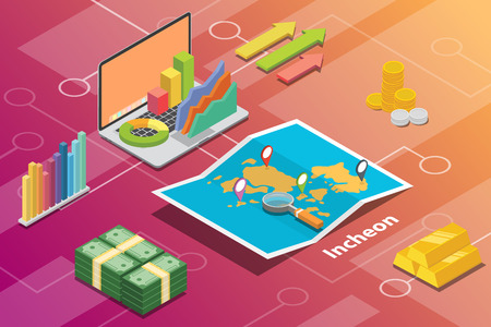 incheon city isometric financial economy condition concept for describe cities growth expand - vector illustration