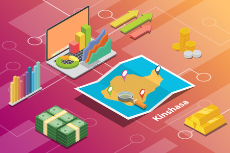 kinshasa city isometric financial economy condition concept for describe cities growth expand - vector