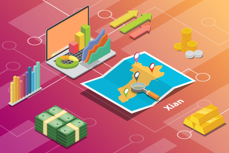 xian shaanxi province city isometric financial economy condition concept for describe cities growth expand - vector illustration