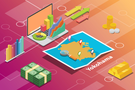 yokohama japan city isometric financial economy condition concept for describe cities growth expand - vector illustration