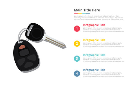 car keys infographics template with 4 points of free space text description - vector illustration