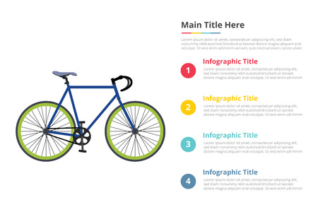bicycle sport speed infographics template with 4 points of free space text description - vector illustration