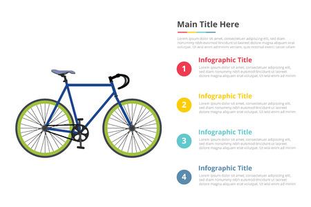 Szablon infografiki prędkości rowerowej z 4 punktami opisu tekstowego wolnej przestrzeni - ilustracja wektorowa