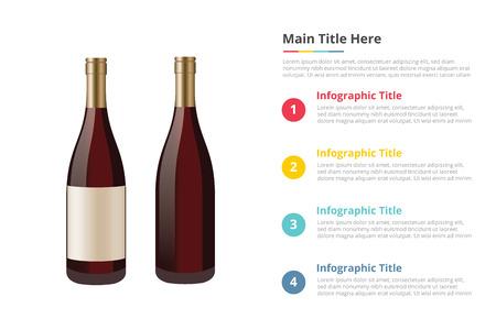 wine in bottle infographics template with 4 points of free space text description - vector illustration Ilustração Vetorial