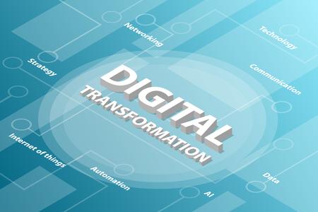 Concepto de texto de palabra 3d isométrica de transformación digital con texto relacionado y punto conectado - ilustración vectorial