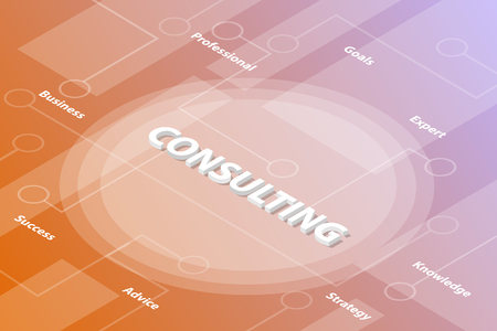 consulting or consultation words isometric 3d word text concept with some related text and dot connected - vector illustration