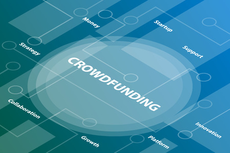 crowdfunding words isometric 3d word text concept with some related text and dot connected - vector illustration